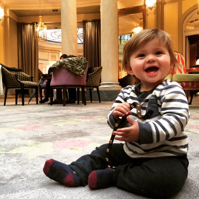 Jack enjoying the lobby of Westin Palace Madrid