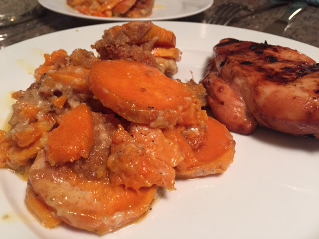 """Sweet Potato Gratin! """"So much better than that dish with marshmallows"""" - My husband."""