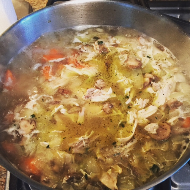After stock is added boil your pasta and add your chicken.