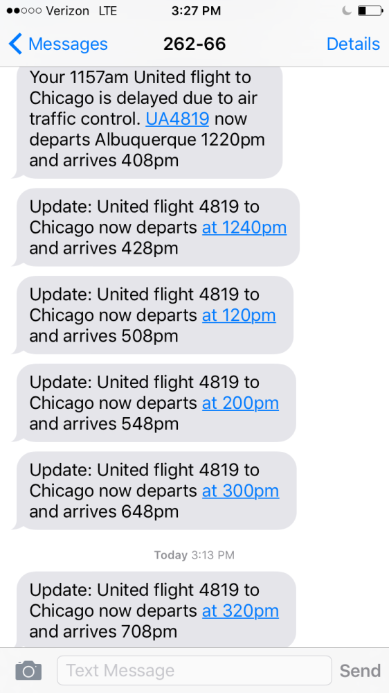 Just a few of the texts from United Airlines